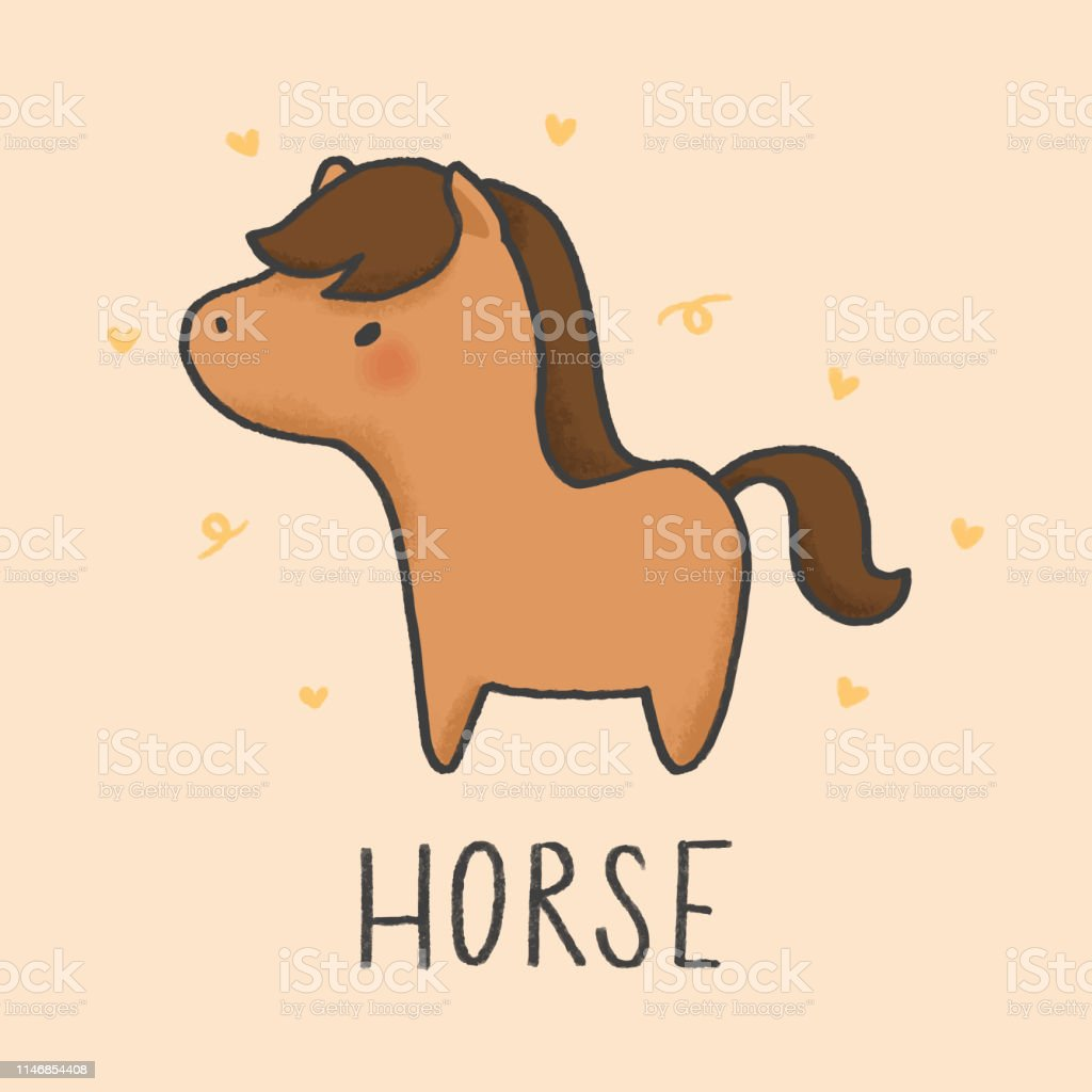 Cute Horse Cartoon Hand Drawn Style Stock Illustration Download Image Now Istock