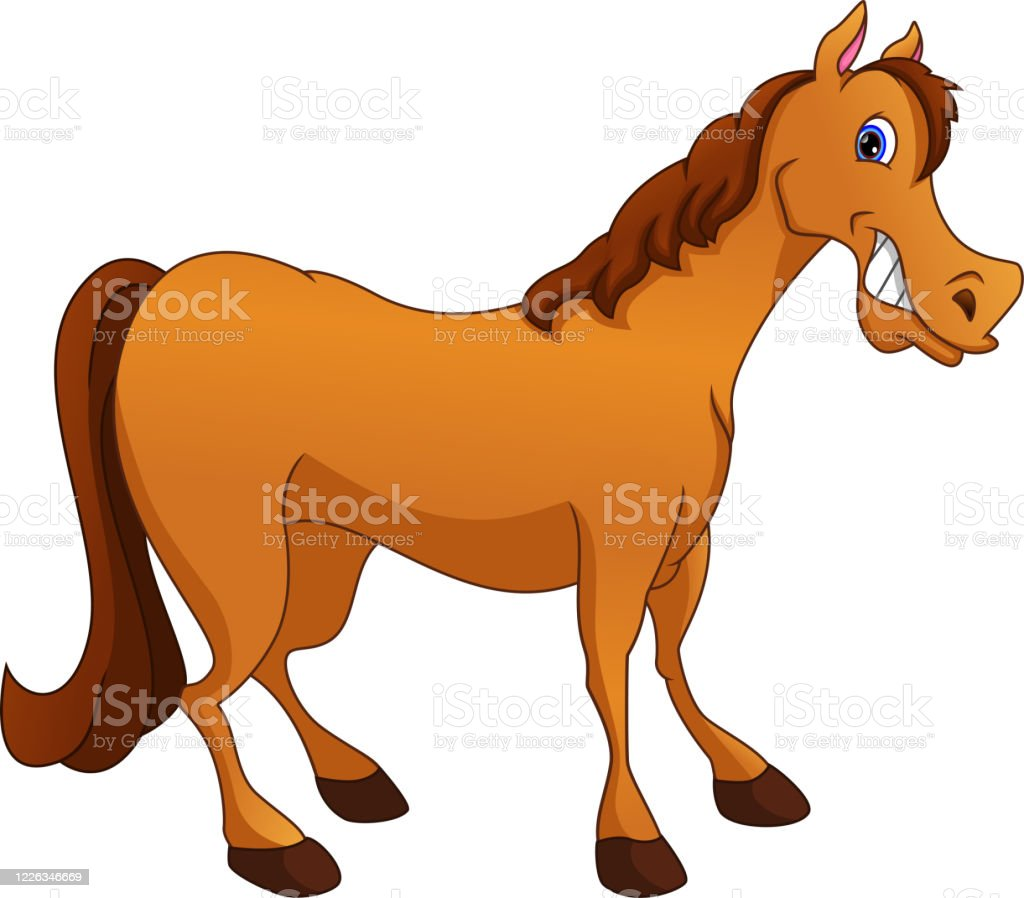 Cute Horse Cartoon On A White Background Stock Illustration Download Image Now Istock