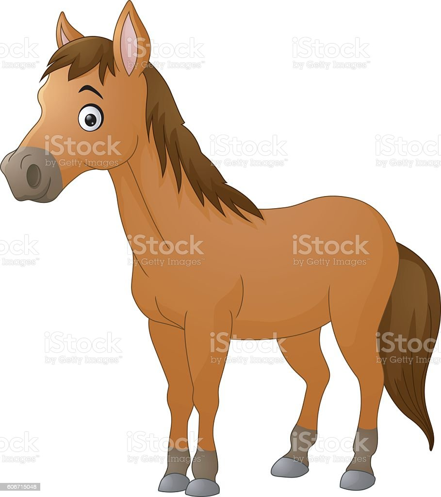 Cute horse cartoon vector art illustration