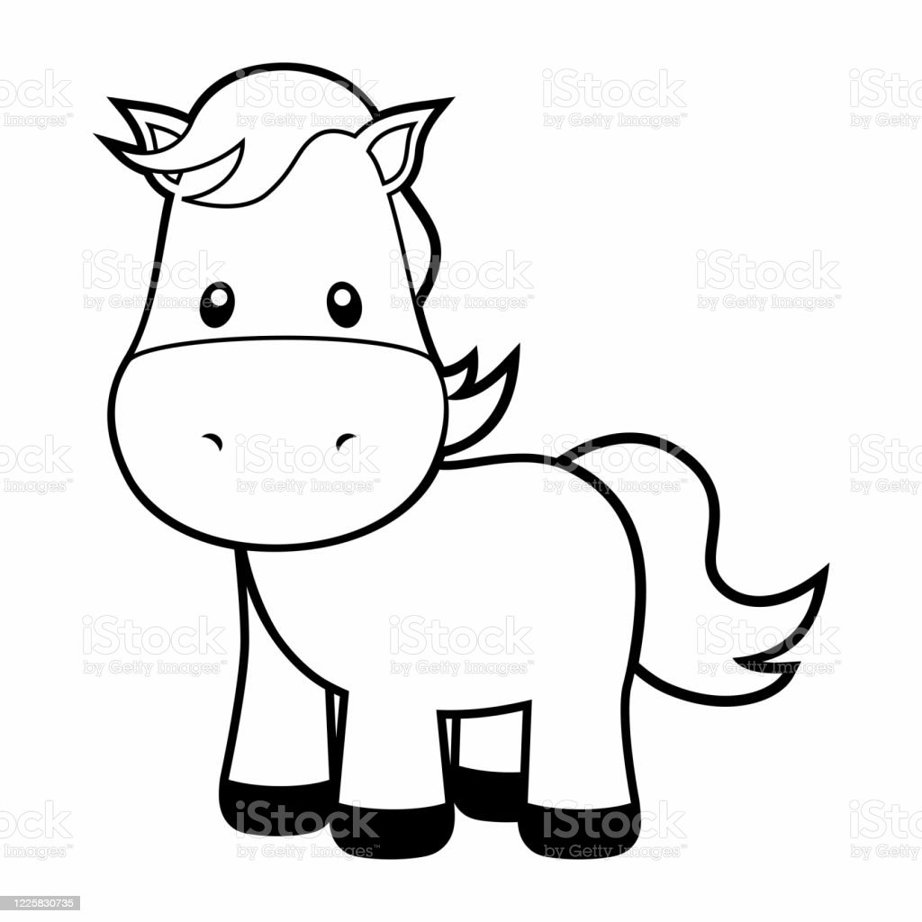 Cute Horse Coloring Page On White Stock Illustration - Download