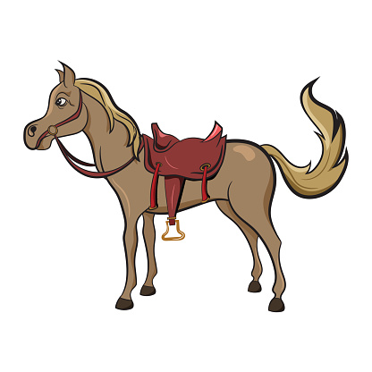 Cute Horse from the wild west with saddle. Adorable character for Childrens book. Wild West Texas Country graphic elements.