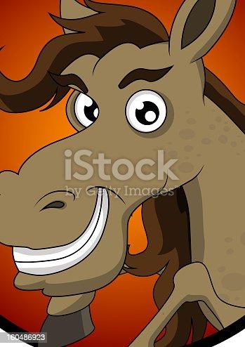 vector illustration of cute horse head cartoon