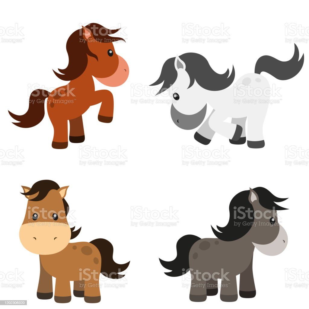 Cute Horse Vector Illustration Set On White Stock Illustration Download Image Now Istock