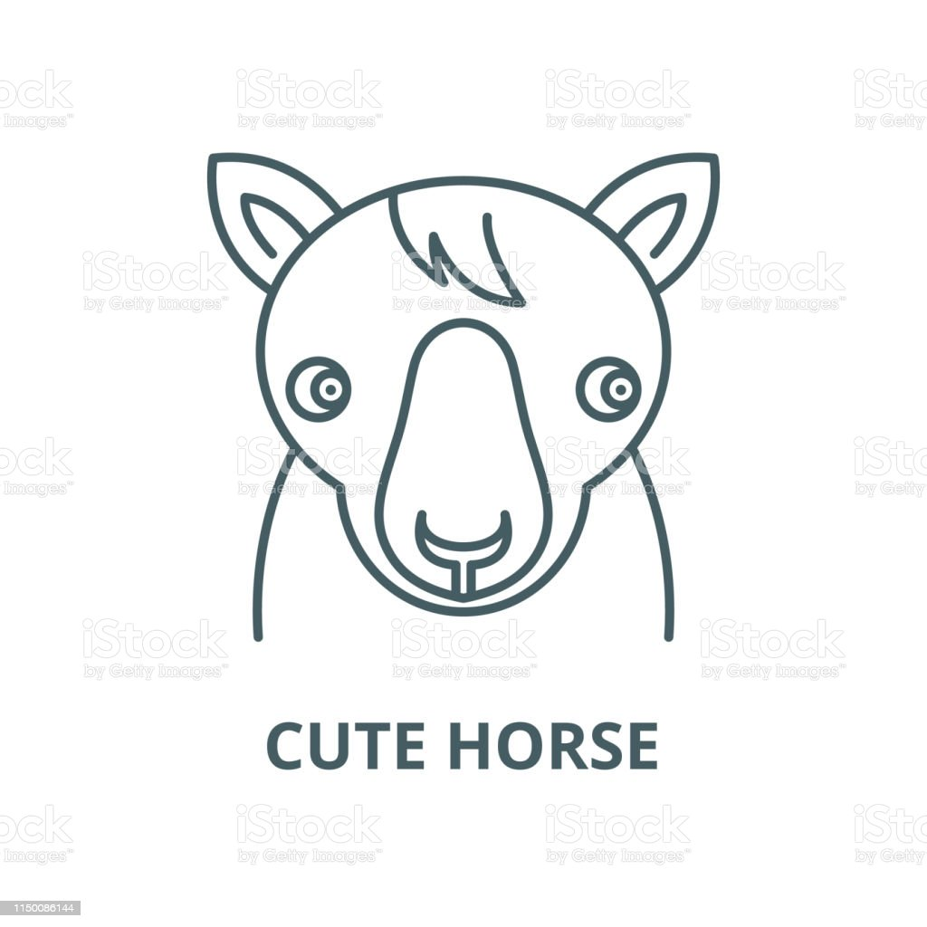 Cute Horse Vector Line Icon Linear Concept Outline Sign Symbol Stock Illustration Download Image Now Istock