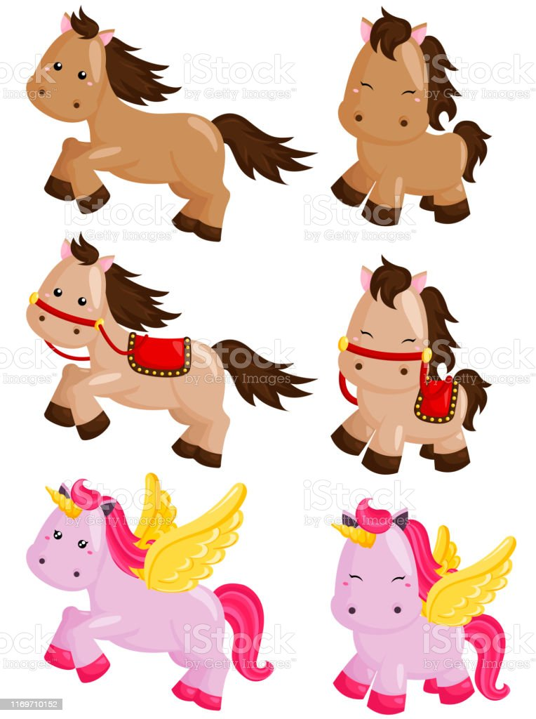 Cute Horse Vector Set Stock Illustration Download Image Now Istock