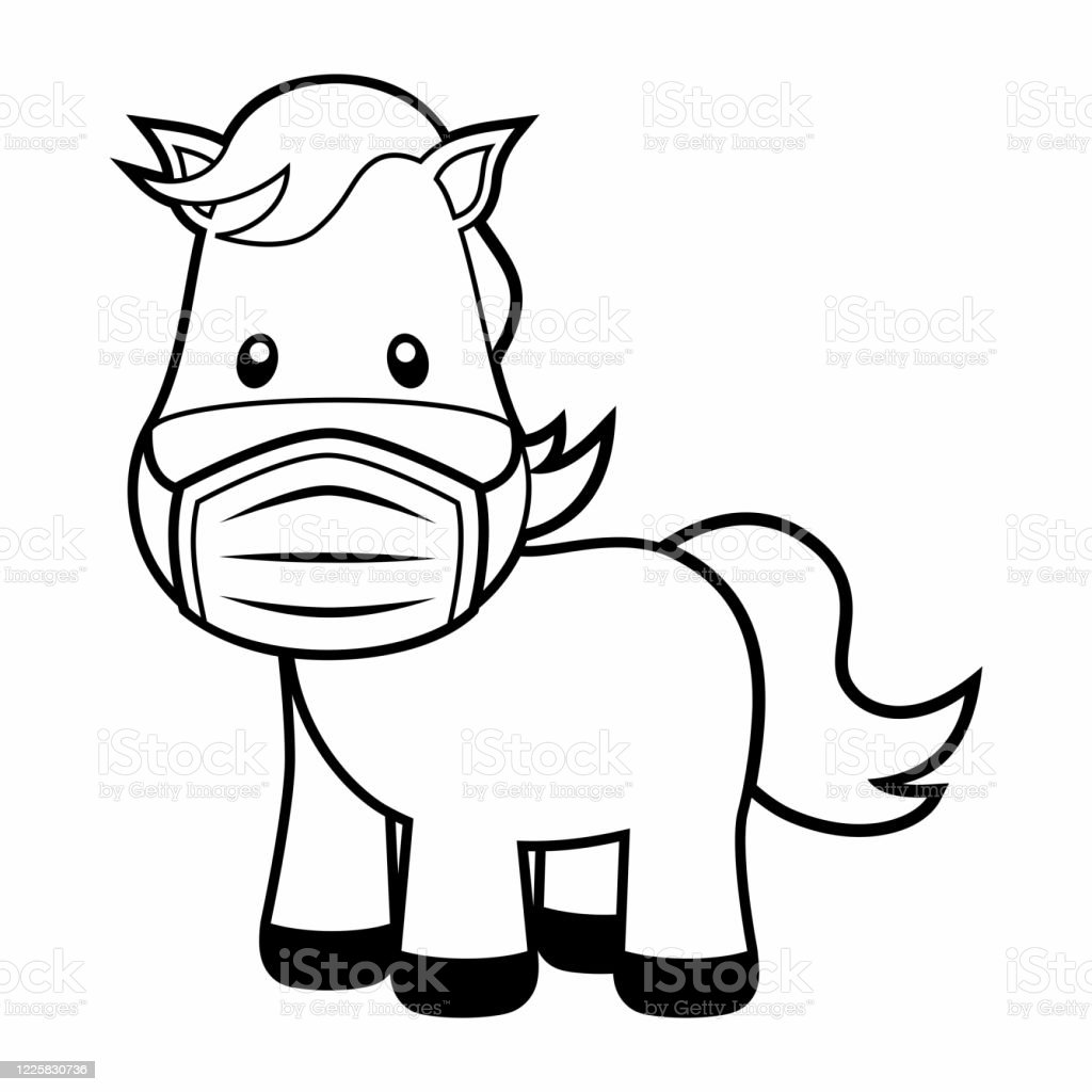 Cute Horse Wearing A Mask Coloring Page On White Stock Illustration Download Image Now Istock