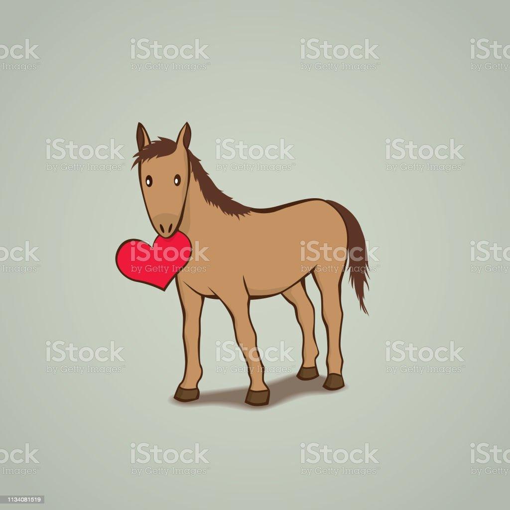 Cute Horse holding a love heart