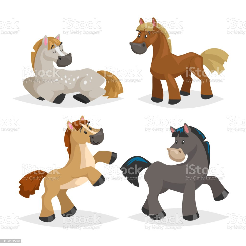 Cute Horses In Various Poses Cartoon Style Farm Animals Different Colors And Breeds Sleeping Standing Riding And Walking Horses Best For Kid Education Vector Illustration Isolated On White Background Stock Illustration