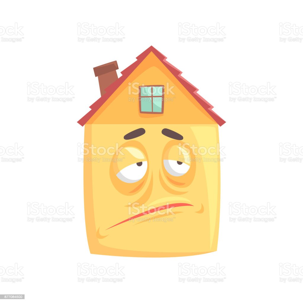 Cute House Cartoon Character With Skeptical Expression On Its Face