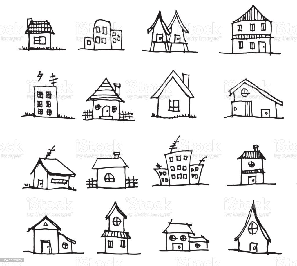 Cute house draw vector line eps10 illustration