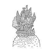Cute house on hill black and white vector illustration for adult coloring. Retro style architecture. Cozy home with chimney and roof scale. Line art medieval castle. Detailed house adult coloring page
