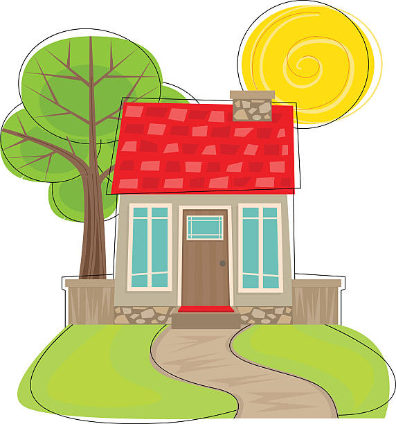 Cute House With Tree vector art illustration