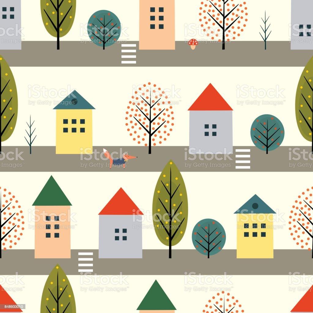 かわいい家フォックス白い背景の上の通りのシームレスなパターンに沿って
