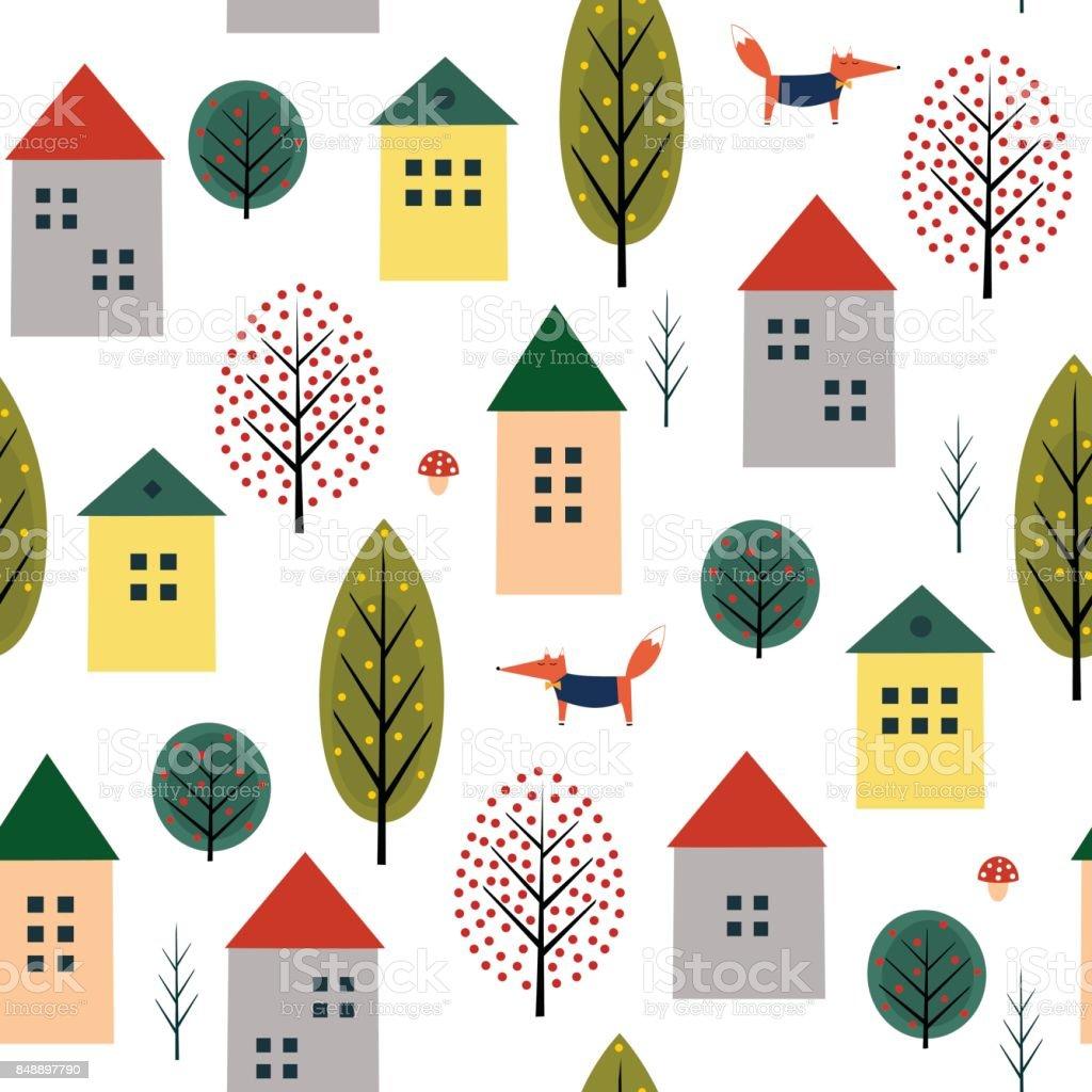 かわいい家フォックス白い背景の上の秋の木シームレス パターン