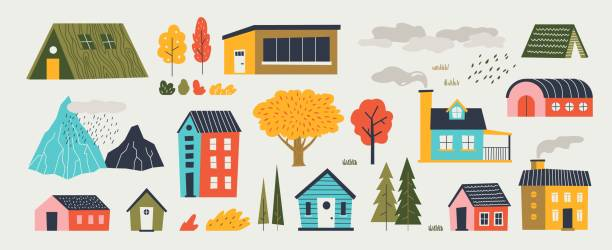 Cute houses. Trendy rural hand drawn landscape with buildings trees mountains and clouds. Vector paper cut flat design vector art illustration