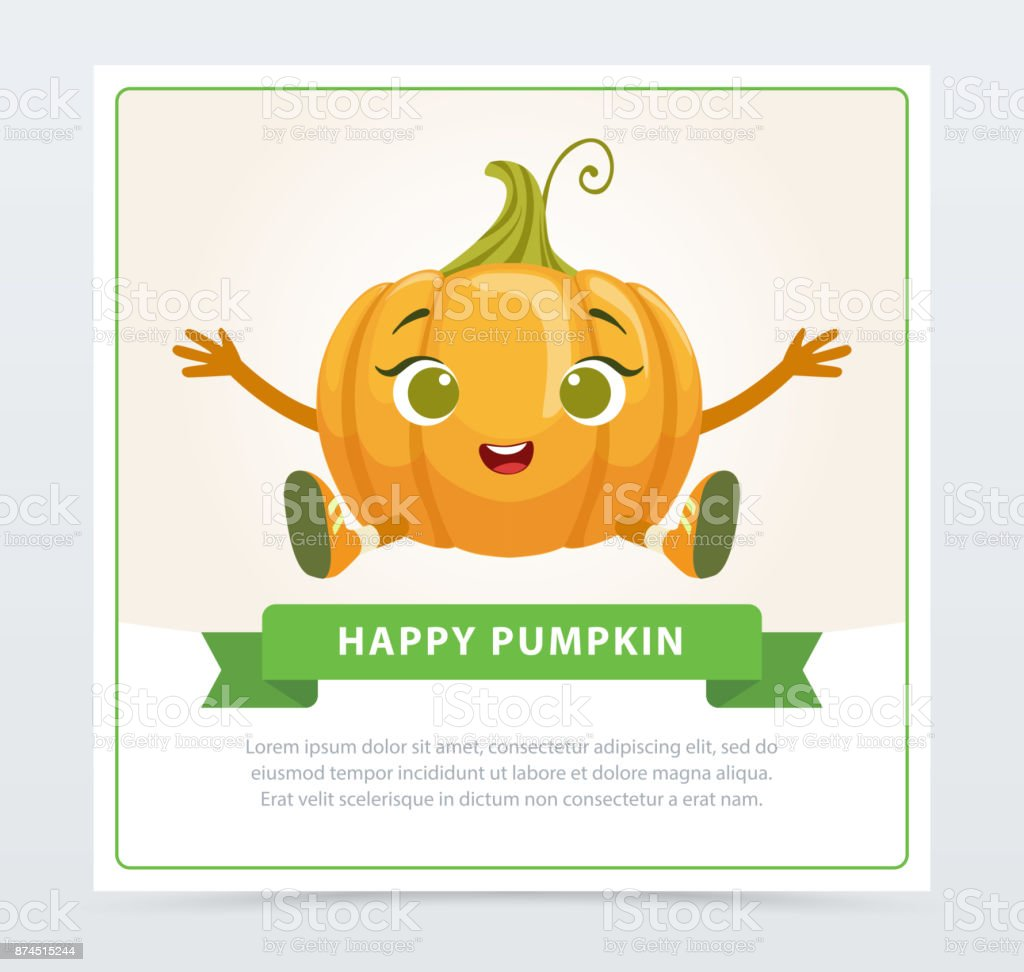 Cute humanized gourd vegetable character , happy pumpkin banner flat vector element for website or mobile app vector art illustration