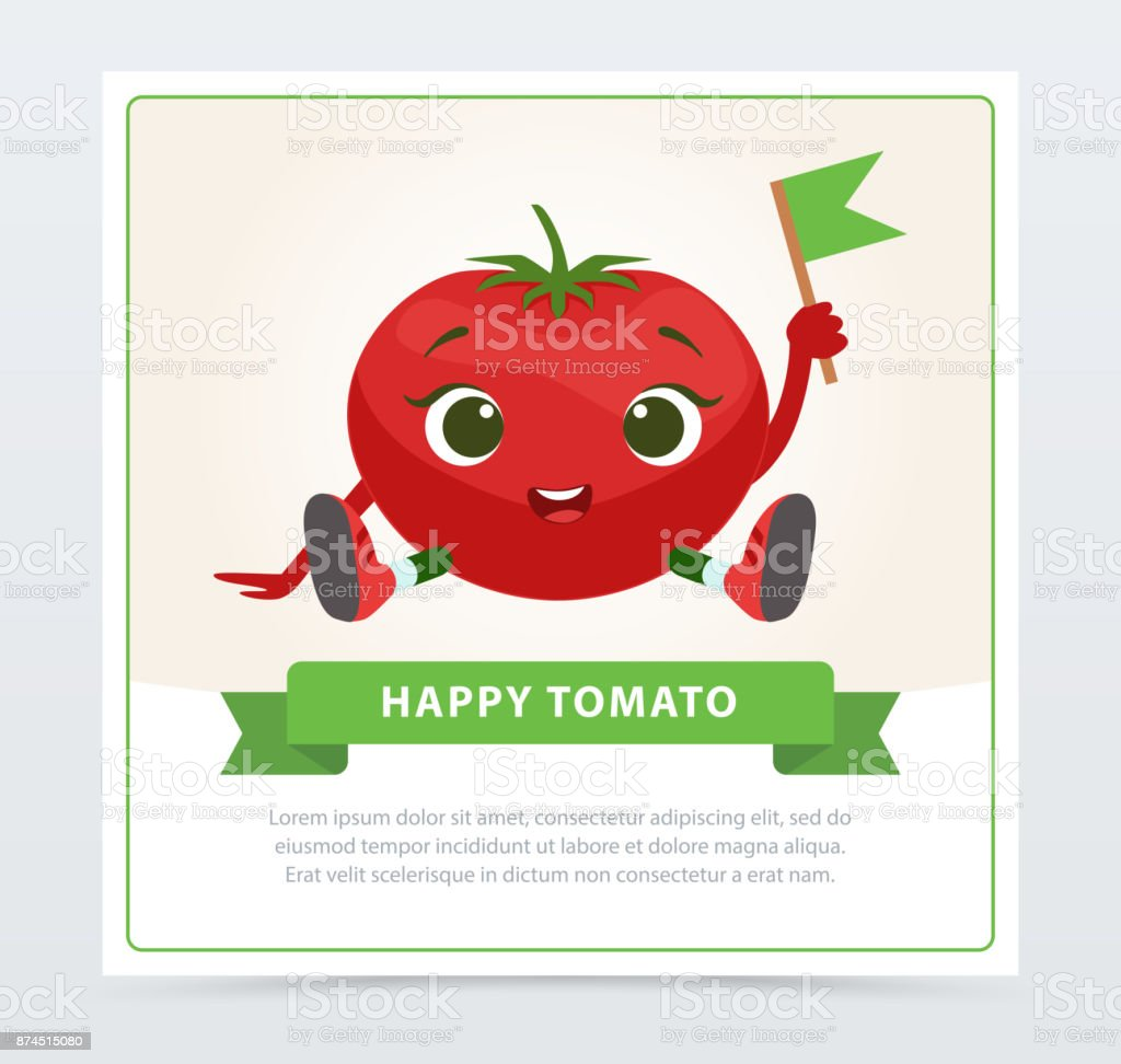 Cute humanized tomato character sitting with flag, happy tomato banner flat vector element for website or mobile app vector art illustration