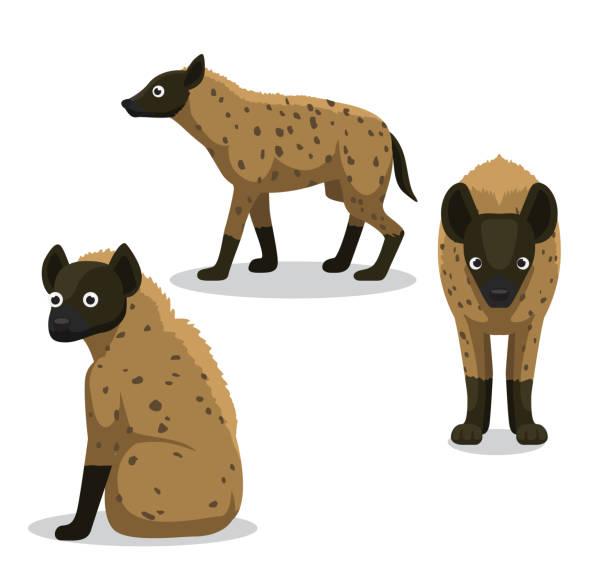 stockillustraties, clipart, cartoons en iconen met schattig hyena cartoon vectorillustratie - hyena