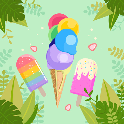 Cute ice cream cone illustraion with leaves an plants for banner, flyer, social media post