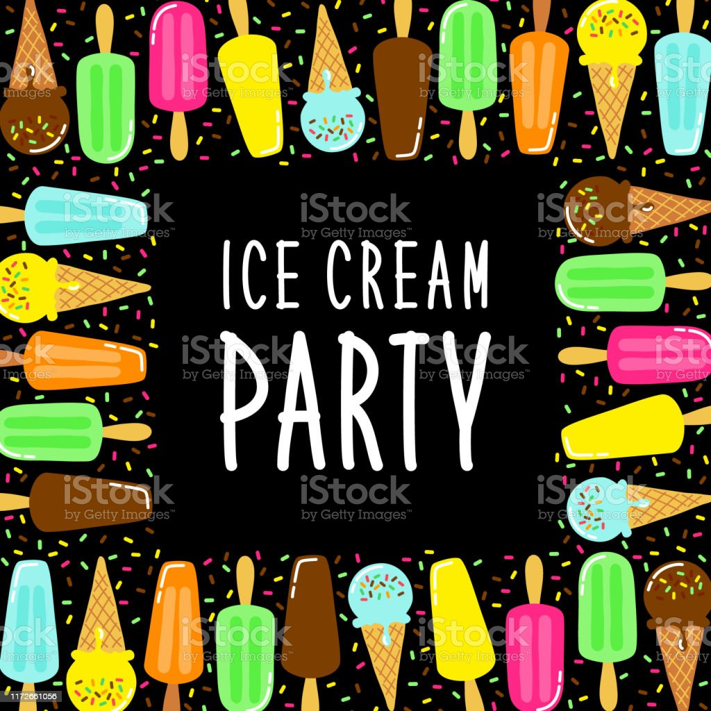 Cute Ice Cream Party Collection Background In Vivid Tasty