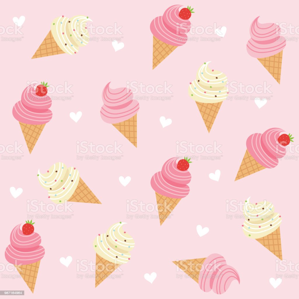 Cute Ice Cream With Hearts Seamless Pattern On Pink Background Royalty Free