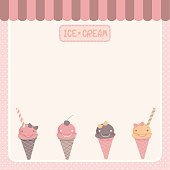 cute ice-cream  pink template