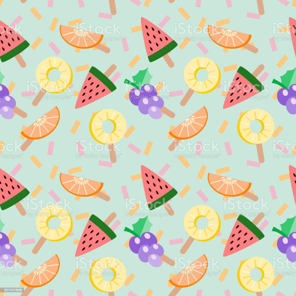 かわいいアイス クリームのトロピカル フルーツ ベクトル イラストです夏