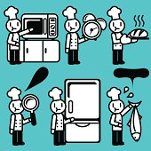 Vector Icon Set: Chef baking and researching ( Food Service )