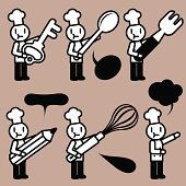 Cute Icon Set: Chef tasting, baking and writing ( Food Service )