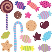 Cute vector icon set – Colorful Sweet Candy.