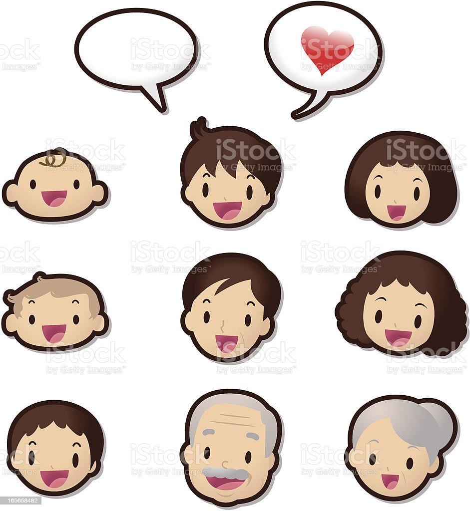 Süße-Icon-Set (Emoticons)-Hallo Familienmitgliedern (Love – Vektorgrafik