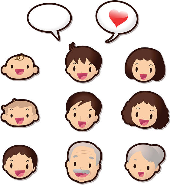 cute icon set ( emoticons ) - dear family members(love) - anime girl stock illustrations