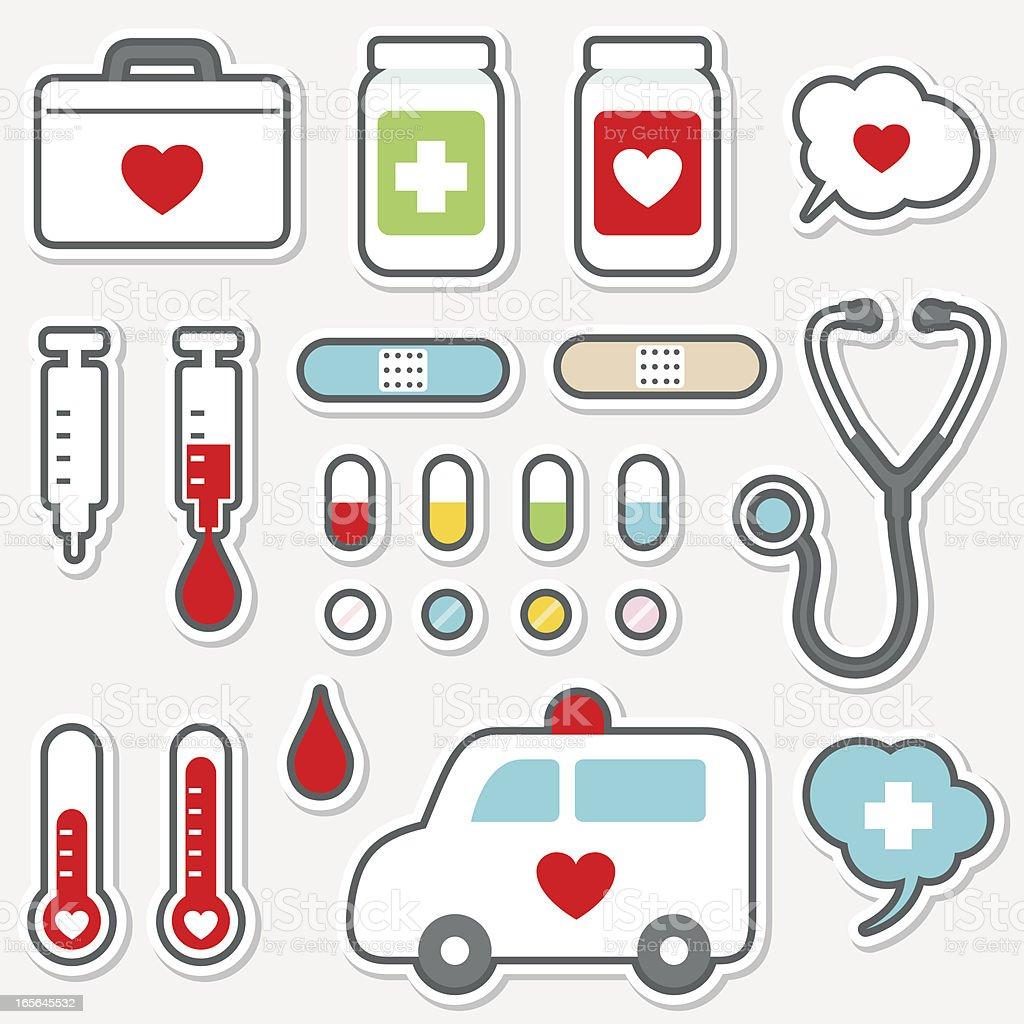 Cute Icon Set Healthcare And Medicine Stock Illustration ...