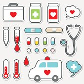 Cute vector icon set of Healthcare And Medicine.