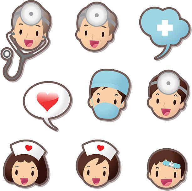 illustrations, cliparts, dessins animés et icônes de mignon ensemble d'icônes (emoticons), personnel médical (médecin et infirmière - aide soignant