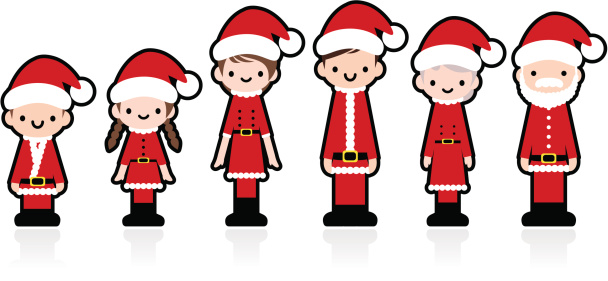 Cute Icon Set: Multi-generation Family with Christmas clothing