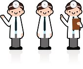 Cute Icon Set: Professional Doctor Giving A Good Advice.