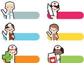 Cute Icon Set: Professional Kindly Doctor And Smiling Nurse.