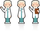 Cute Icon Set: Professional Kindly Doctor Giving A Good Advice.