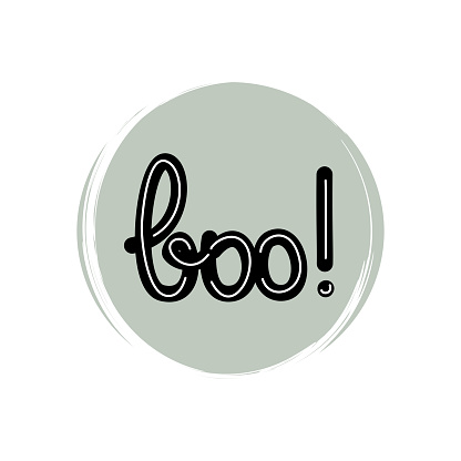 Cute icon vector with hand drawn lettering boo text, illustration on circle with brush texture, for social media story and highlights