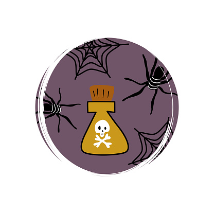 Cute icon vector with potion and spiderweb, illustration on circle with brush texture, for social media story and highlights