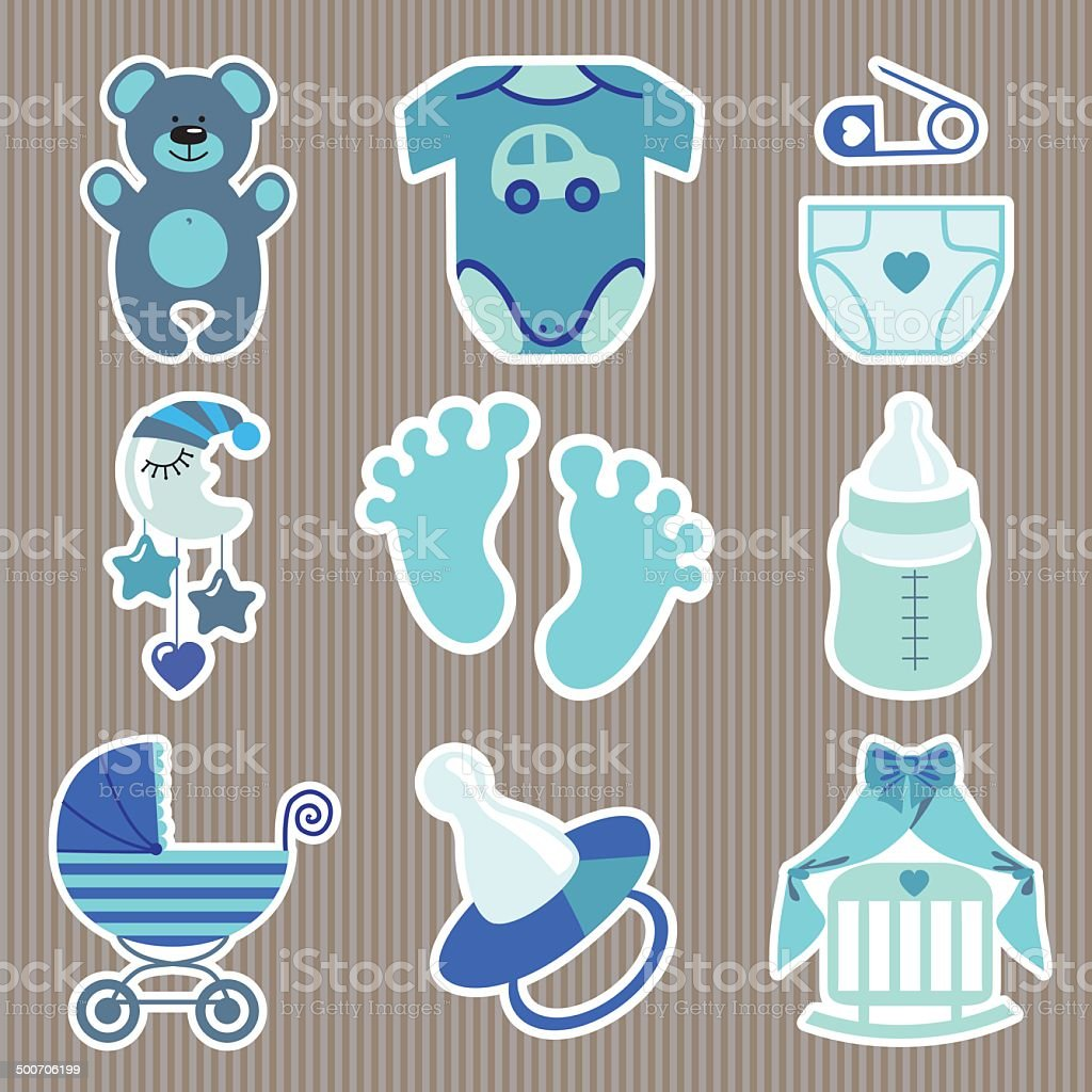 Cute icons for newborn baby boystrips background stock vector art cute icons for newborn baby boyrips background royalty free cute icons for newborn voltagebd Choice Image