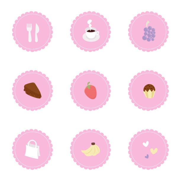 ilustrações, clipart, desenhos animados e ícones de os ícones bonitos ajustam-se - brigadeiro