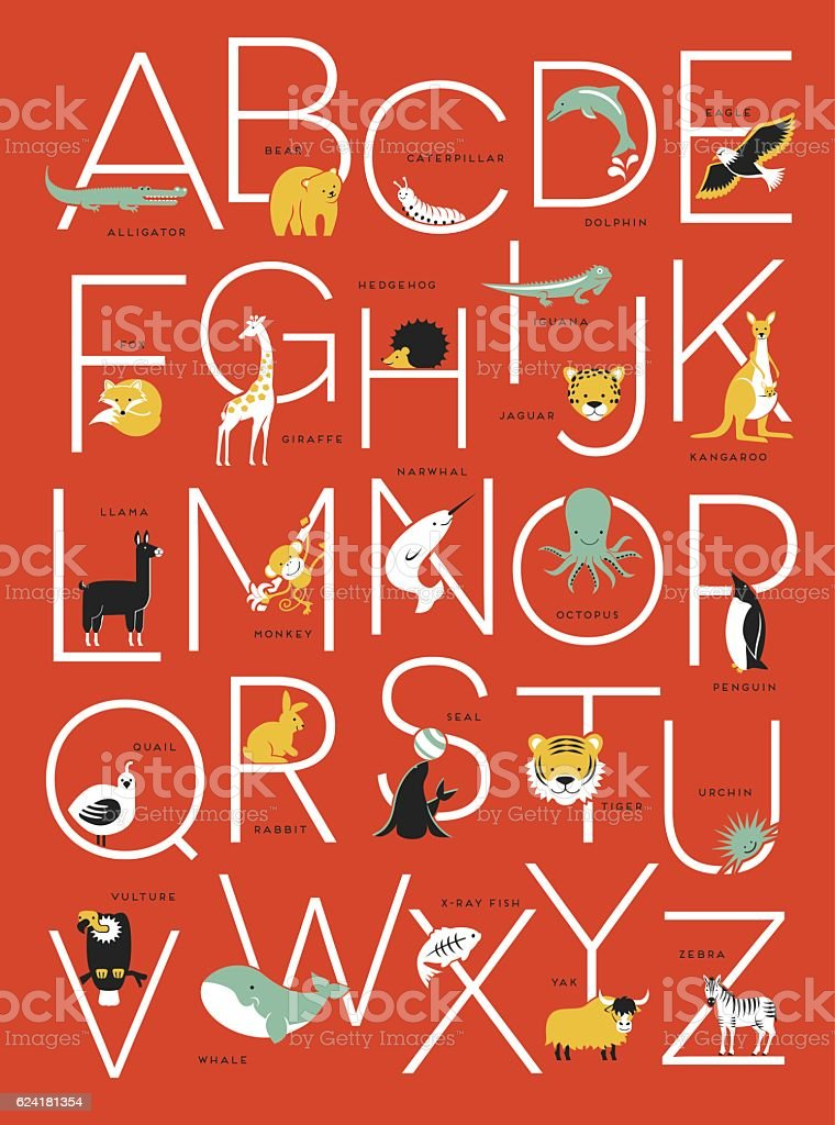 cute illustrated animal alphabet poster design for kids – Vektorgrafik