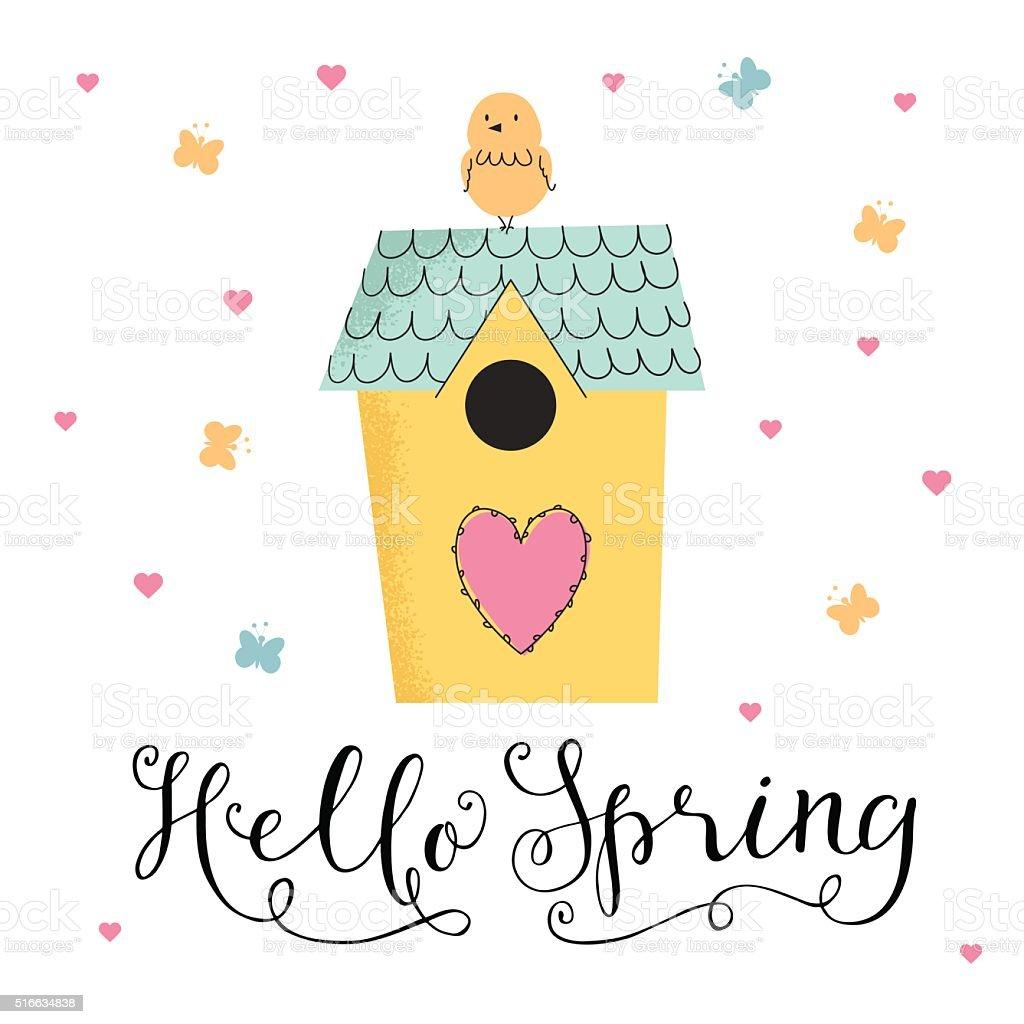 かわいいイラストレーションハロー春 - お祝いのベクターアート素材や