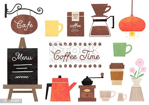 Cute illustration of a cafe watercolor style