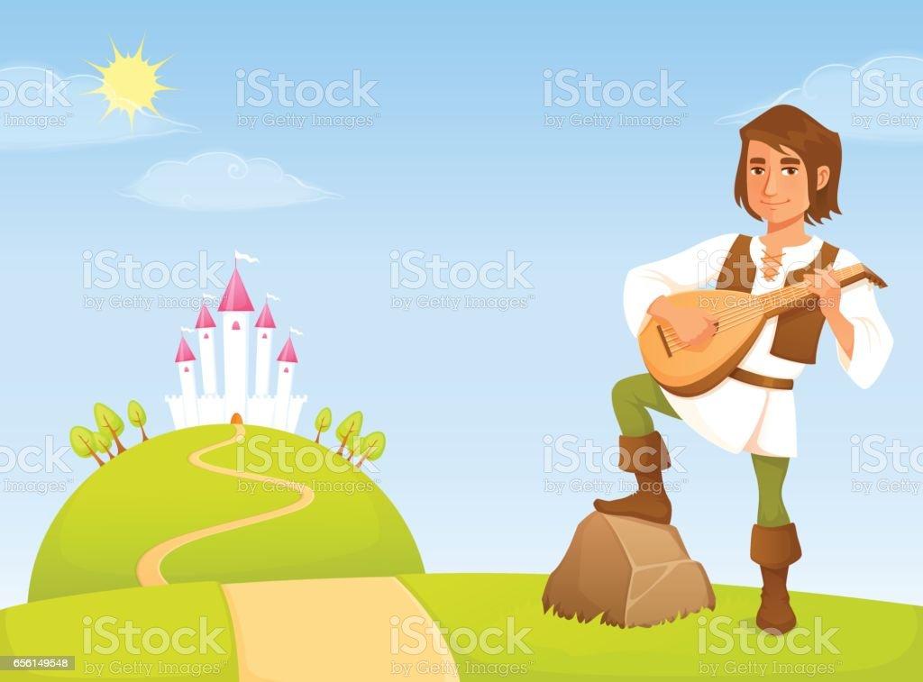 童話王国のハンサムな吟遊詩人のかわいいイラスト おとぎ話のベクター