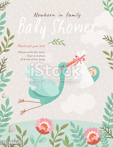 cute illustration of a stork with a baby in a flower frame, vector isolated objects for congratulations on a newborn