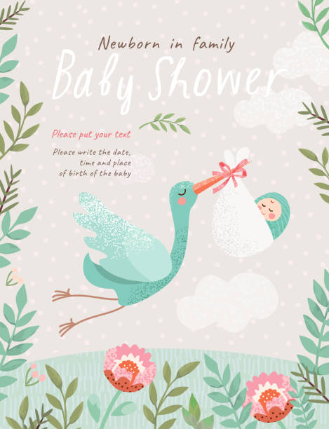 花のフレームに赤ちゃんを持つコウノトリのかわいいイラスト、新生児のお祝いのためのベクトル孤立したオブジェクト - 赤ちゃん点のイラスト素材/クリップアート素材/マンガ素材/アイコン素材