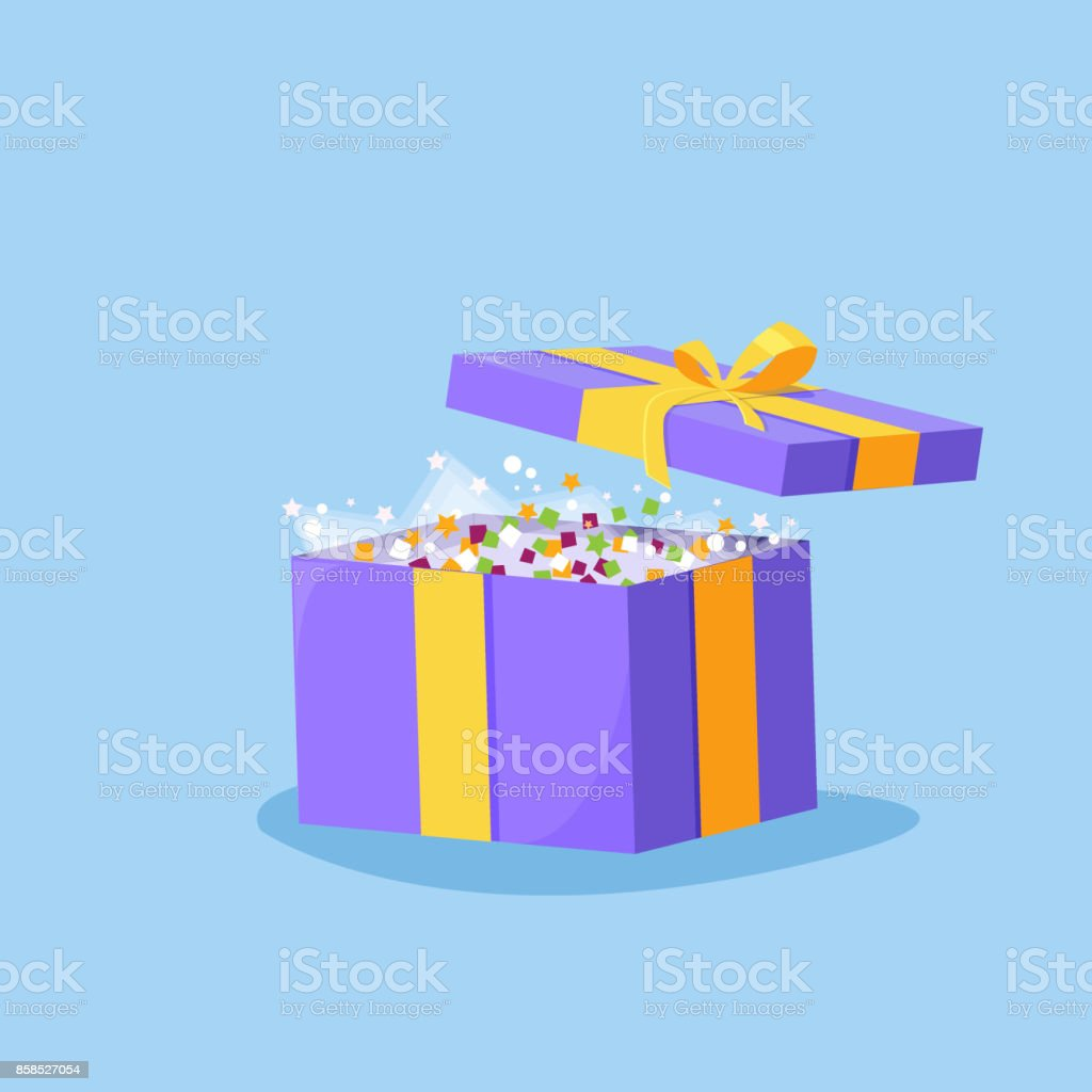 Cute illustration of gift box present, greeting, Opened gift box, surprise concept with bright light vector art illustration